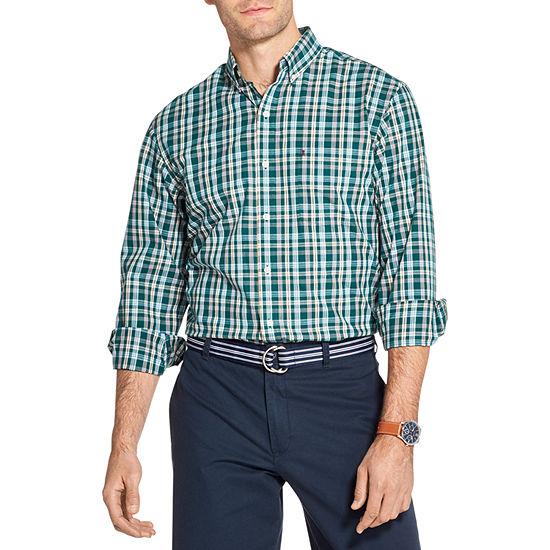 IZOD Premium Essentials Mens Long Sleeve Plaid Button-Down Shirt