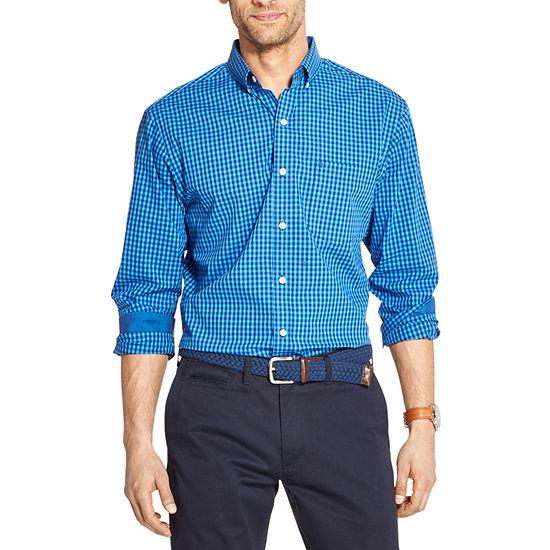 IZOD Premium Essentials Mens Long Sleeve Gingham Button-Down Shirt