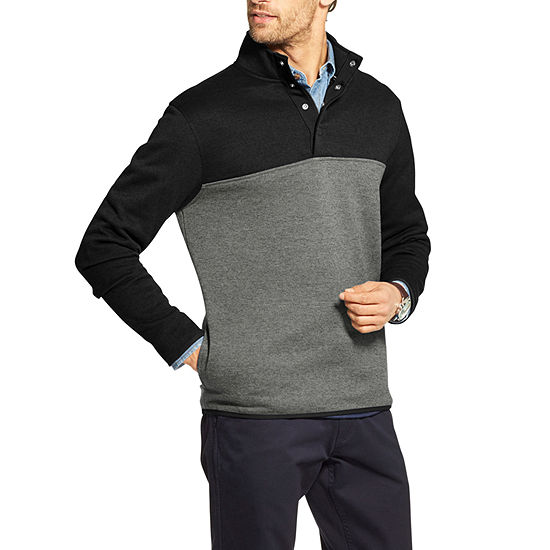 IZOD Mens Big and Tall Premium Essentials Spectator Button Mock Neck Fleece Pullover