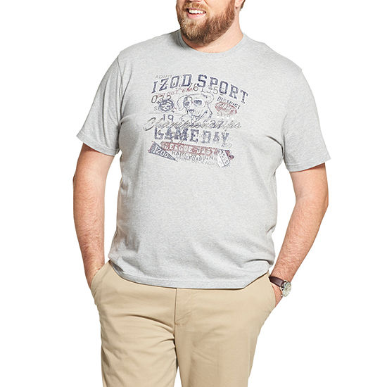 IZOD Mens Crew Neck Short Sleeve T-Shirt-Big and Tall