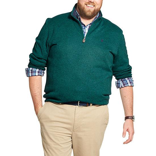 IZOD Big and Tall Premium Essentials Sweater Fleece Quarter-Zip Pullover