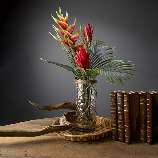 Heliconia Ginger Protea and Hawaiian Palm Fronds in Glass Vase Wrapped in Rope