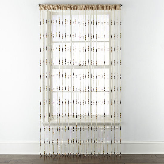 Regal Home Collections Boutique Beads Single Rod-Pocket Curtain Panel
