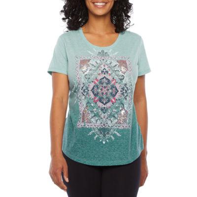 St. John's Bay Active Womens Short Sleeve Graphic T-Shirt - Petite