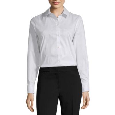 Liz Claiborne Womens Long Sleeve Button-Front Shirt