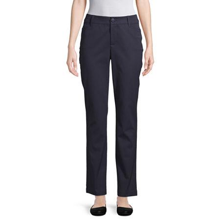 St. John's Bay Womens Mid Rise Straight Flat Front Pant, 12 , Blue