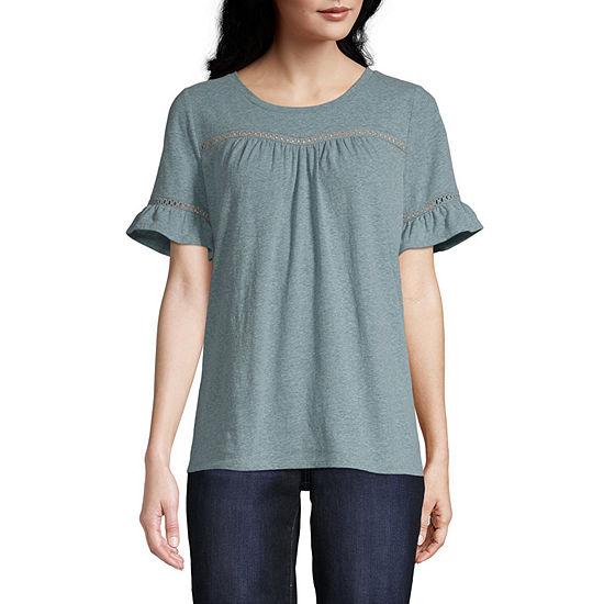 St. John's Bay Petite-Womens Crew Neck Short Sleeve T-Shirt
