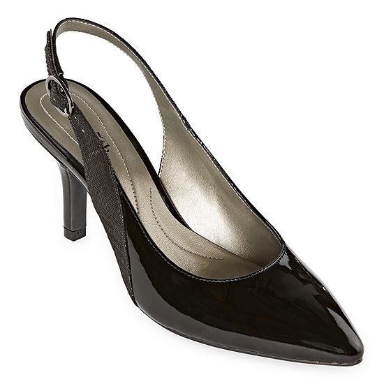 east 5th Womens Derby Slip-on Pointed Toe Spike Heel Pumps