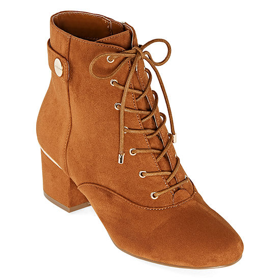 Liz Claiborne Womens Garret Block Heel Zip/Lace-Up  Booties