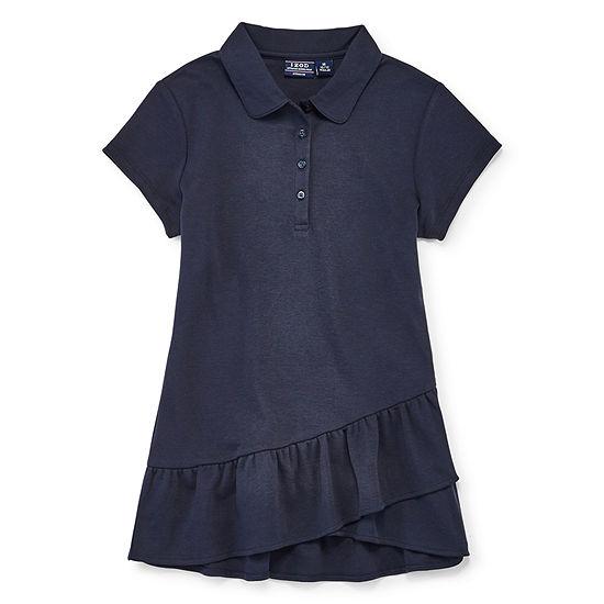 Izod Exclusive Girls Spread Collar Short Sleeve Polo Shirt