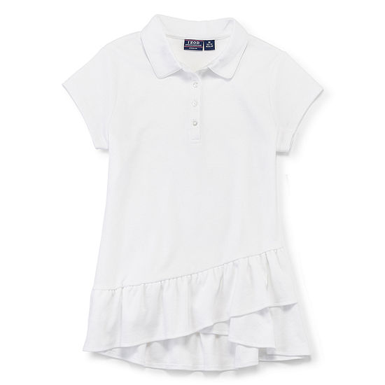 Izod Exclusive Girls Spread Collar Short Sleeve Polo Shirt