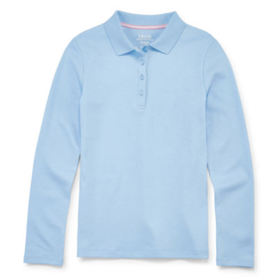 Izod Girls Spread Collar Long Sleeve Polo Shirt Preschool/Big Kid