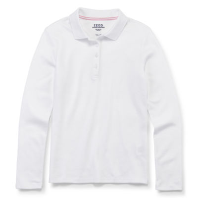 IZOD Little & Big Girls Long Sleeve Stretch Polo Shirt