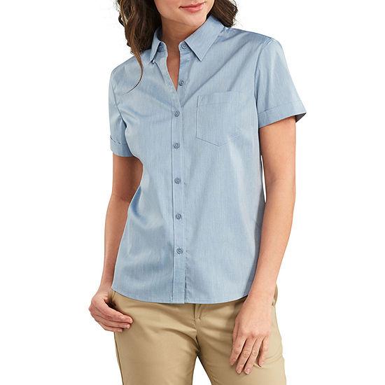 Dickies Short Sleeve Stretch Poplin Work Shirt Womens Short Sleeve Regular Fit Button-Front Shirt