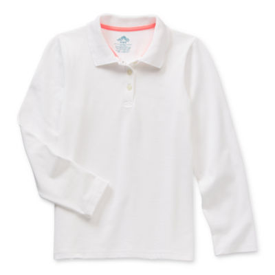 Thereabouts Pique Little & Big Girls Long Sleeve Moisture Wicking Polo Shirt