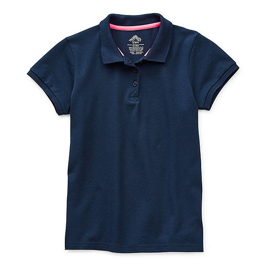 Thereabouts Pique Little & Big Girls Short Sleeve Moisture Wicking Polo Shirt