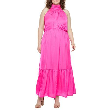Plus Size Retro Dresses 50s, 60s ,70s, 80s, 90s Worthington Plus Sleeveless Maxi Dress 2x  Pink $39.74 AT vintagedancer.com