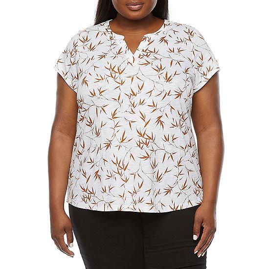 Liz Claiborne Womens Plus Split Crew Neck Short Sleeve T-Shirt