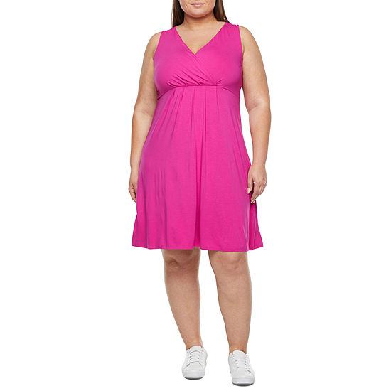 St. John's Bay-Plus Sleeveles Fit & Flare Dress