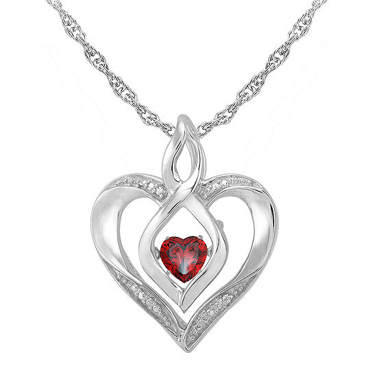 Love in motion dancing garnet diamond accent heart pendant love in motion genuine garnet and diamond accent heart pendant necklace aloadofball Images