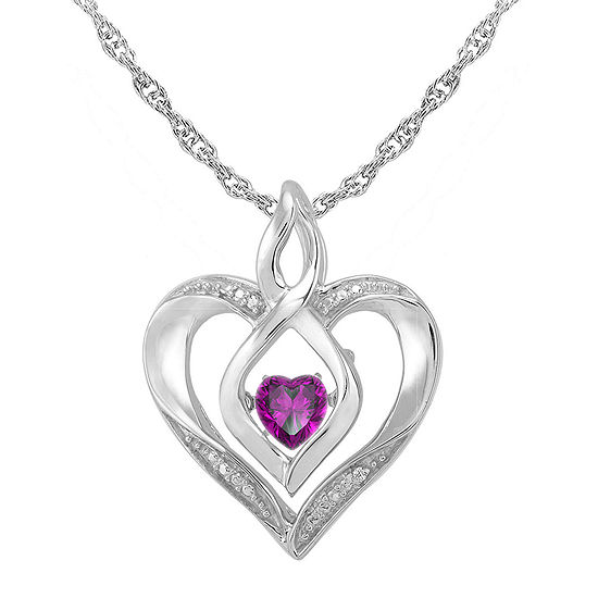 Love In Motion Genuine Amethyst Diamond Accent Heart Sterling Silver Heart Pendant Necklace