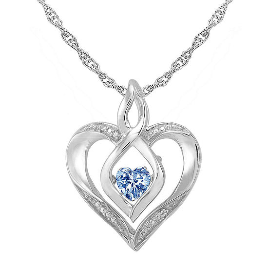 Love in motion dancing simulated aquamarine diamond accent heart pendant love in motion simulated aquamarine and diamond accent heart pendant necklace aloadofball Image collections