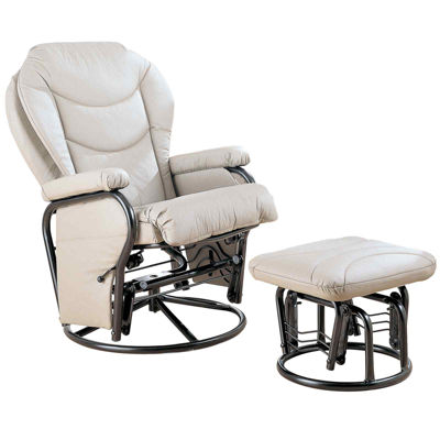 Bartly Faux-Leather Glider with Ottoman