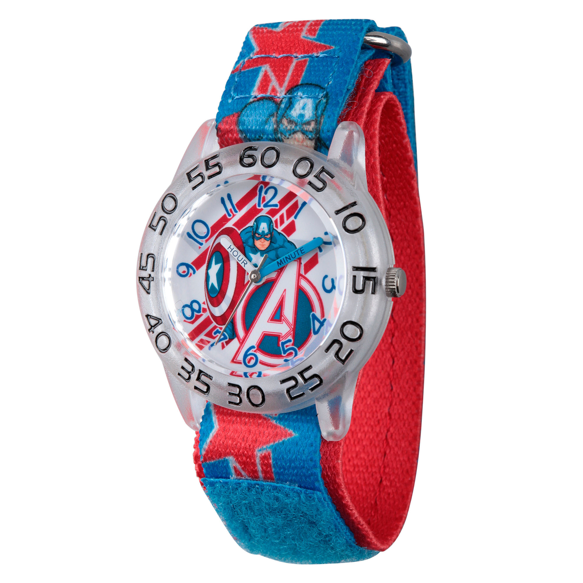 Marvel Boys Blue And Silver Tone Avengers Assemble Time Teacher Plastic Strap Watch W003222
