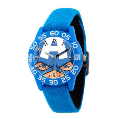 Marvel Boys Blue Captain America Time Teacher Plastic Strap Watch W003248