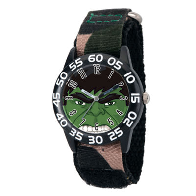 Marvel Boys Green Camo Avengers Hulk Time Teacher Plastic Strap Watch W003251