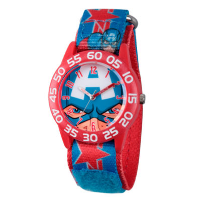 Marvel Boys Blue Captain America Time Teacher Plastic Strap Watch W003257