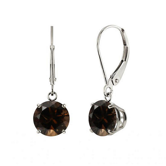 Round Genuine Smoky Quartz 10K White Gold Earrings