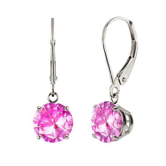 Round Lab-Created Pink Sapphire 10K White Gold Earrings