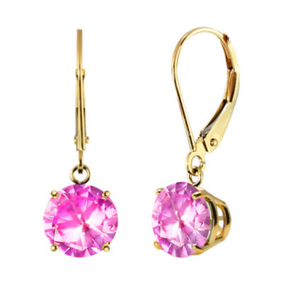 Lab-Created Pink Sapphire 10k Yellow Gold Leverback Dangle Earrings