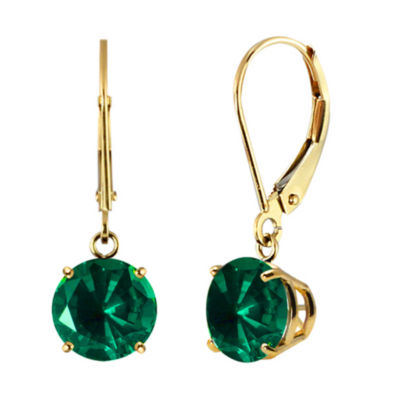 Lab-Created Round Emerald 10k Yellow Gold Leverback Dangle Earrings