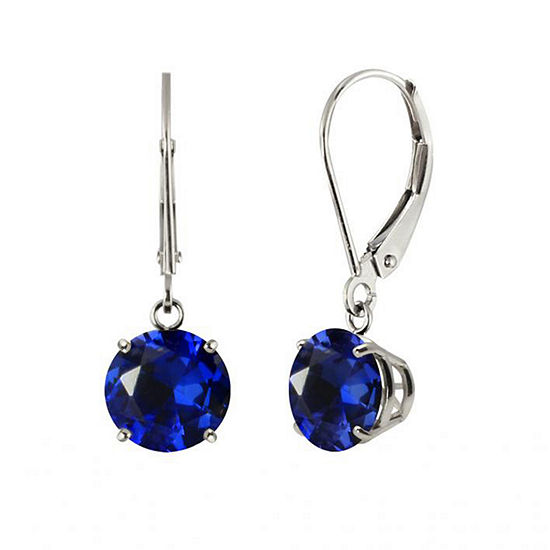 Round Lab-Created Blue Sapphire 10K White Gold Earrings