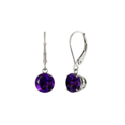 Round Amethyst Sterling Silver Leverback Dangle Earrings