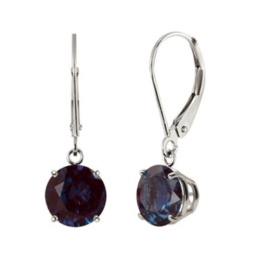 Lab-Created Alexandrite Sterling Silver Leverback Dangle Earrings