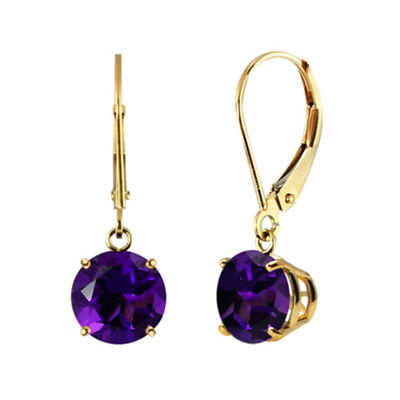 Genuine Amethyst 10k Yellow Gold Leverback Dangle Earrings