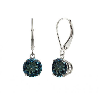 Genuine London Blue Topaz Sterling Silver Leverback Dangle Earrings