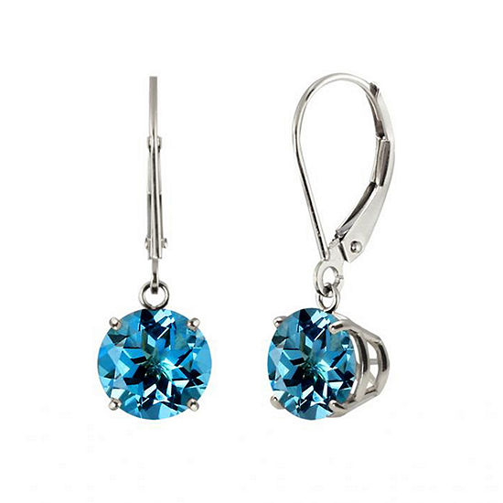 Genuine Swiss Blue Topaz 10k White Gold Leverback Dangle Earrings