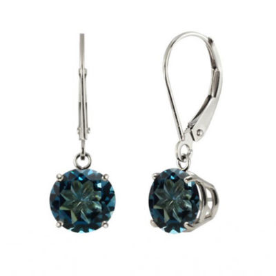 Genuine London Blue Topaz 10k White Gold Leverback Dangle Earrings