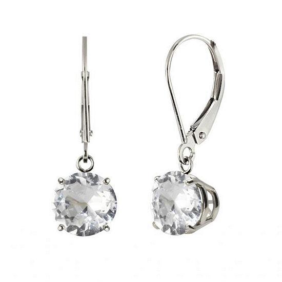 Round White Topaz 10k White Gold Leverback Dangle Earrings