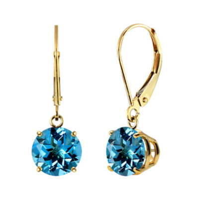 Genuine Swiss Blue Topaz 10k Yellow Gold Leverback Dangle Earrings