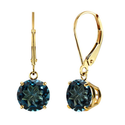 Genuine London Blue Topaz 10k Yellow Gold Leverback Dangle Earrings