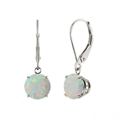 Lab-Created Round Opal Sterling Silver Leverback Dangle Earrings