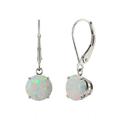 Lab-Created Round Opal 10k White Gold Leverback Dangle Earrings