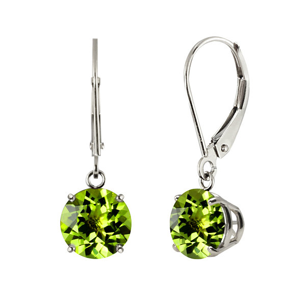 Genuine Peridot 10K White Gold Leverback Dangle Earrings