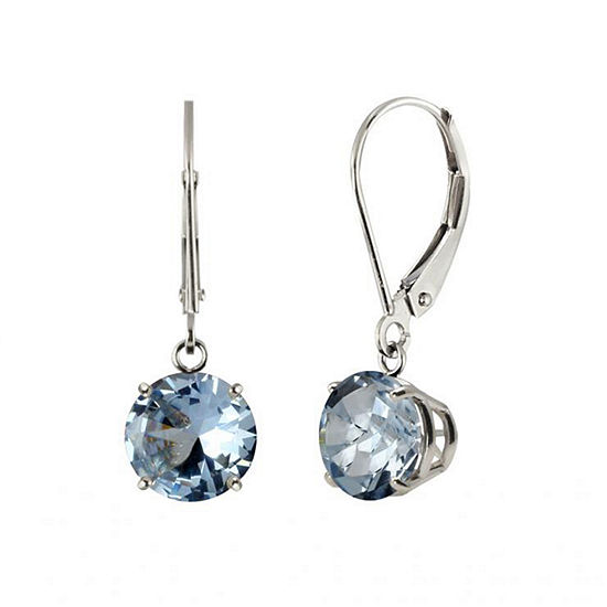 Simulated Aquamarine Sterling Silver Leverback Dangle Earrings