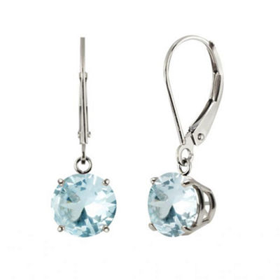Genuine Aquamarine 10K White Gold Leverback Dangle Earrings